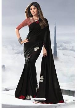 Black Satin Designer Saree