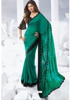 Teal Satin Designer Saree