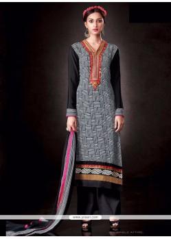 Catchy Black Print Work Designer Pakistani Salwar Suit