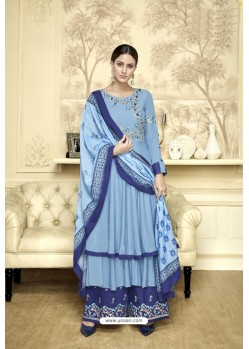 Blue Maslin Heavy Embroidered Designer Palazzo Suit