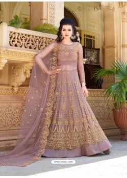 Old Rose Net Embroidered Heavy Designer Anarkali Suit