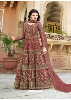 Maroon Net Heavy Embroidered Designer Anarkali Suit