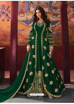 Dark Green Silk Base Embroidered Designer Anarkali Suit