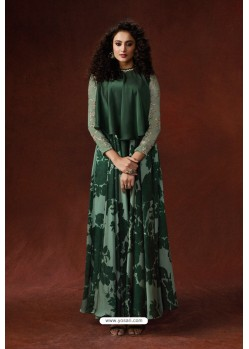 Dark Green Silky Georgette Readymade Kurtis
