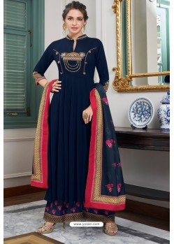 Navy Blue Heavy Muslin Embroidered Palazzo Suit