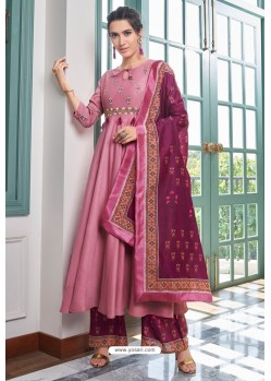 Light Pink Heavy Muslin Embroidered Palazzo Suit