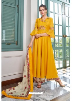 Yellow Heavy Muslin Embroidered Palazzo Suit