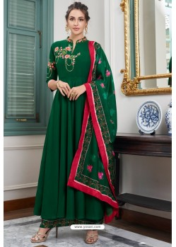 Dark Green Heavy Muslin Embroidered Palazzo Suit