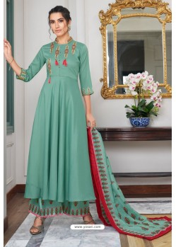 Aqua Mint Heavy Muslin Embroidered Palazzo Suit