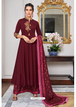 Deep Wine Heavy Muslin Embroidered Palazzo Suit
