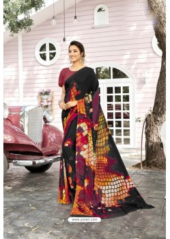 Black Digital Printed Crepe Saree