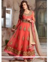 Bedazzling Peach And Pink Shaded Net Anarkali Suits