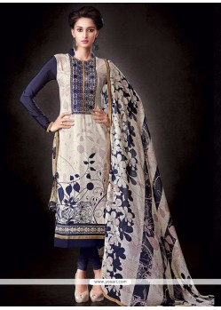Prime Faux Crepe White Print Work Churidar Salwar Kameez