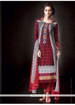 Deserving Print Work Faux Crepe Designer Pakistani Suit