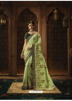 Green Dola Silk Designer Wedding Saree