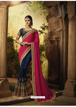 Rani And Navy Self Jacquard And Silk Designer Wedding Saree