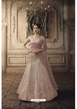 Baby Pink Satin And Net Heavy Embroidered Lehenga Choli