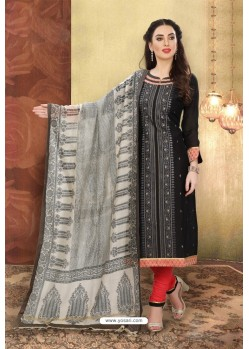 Black Designer Chanderi Silk Suit