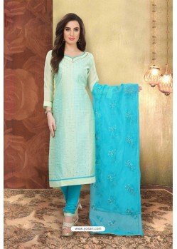 Sea Green Designer Chanderi Silk Suit