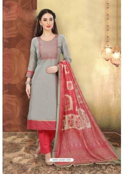 Grey Designer Chanderi Silk Suit