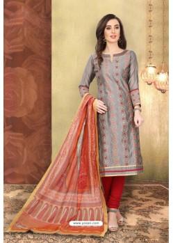 Dull Grey Designer Chanderi Silk Suit
