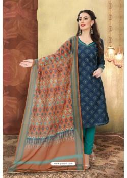 Navy Blue Designer Chanderi Silk Suit