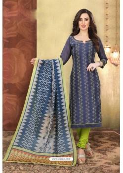 Dark Blue Chanderi Silk Top Designer Suit