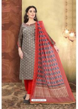 Coffee Brown Chanderi Silk Top Designer Suit