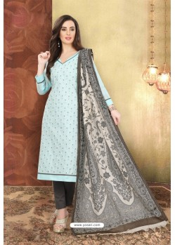 Sky Blue Chanderi Silk Top Designer Suit