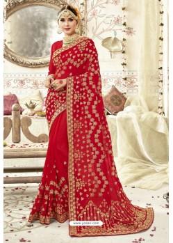Dazzling Red Georgette Zari Printed Designer Wedding Saree