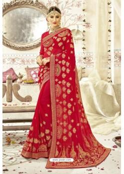 Feminine Red Georgette Zari Printed Designer Wedding Saree