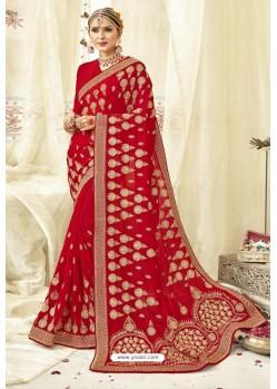 Latest Red Georgette Zari Printed Designer Wedding Saree