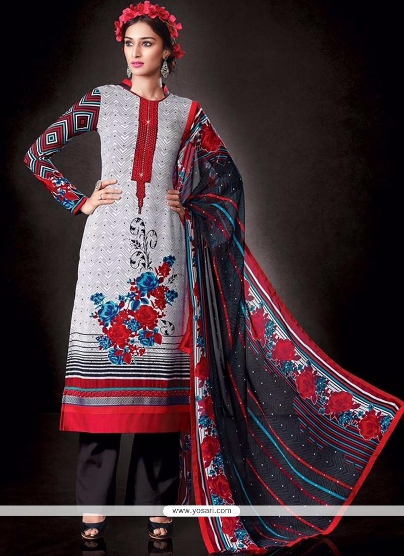 Winsome Faux Crepe White Print Work Designer Pakistani Salwar Suit