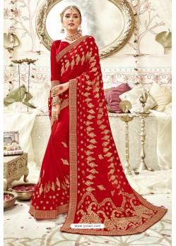 Eyeful Red Georgette Zari Printed Designer Wedding Saree