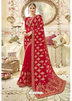 Decent Red Georgette Zari Printed Designer Wedding Saree