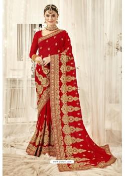 Decent Red Designer Georgette Embroidered Wedding Saree