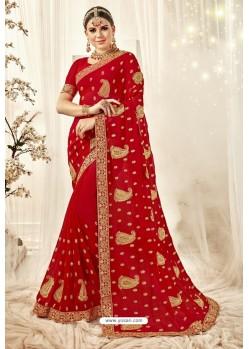 Flawless Red Designer Georgette Embroidered Wedding Saree