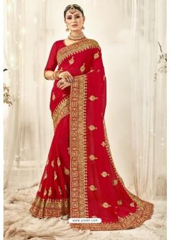 Marvelous Red Designer Georgette Embroidered Wedding Saree