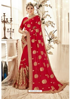 Incredible Red Designer Georgette Embroidered Wedding Saree