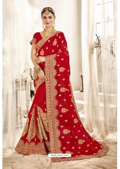 Groovy Red Designer Georgette Embroidered Wedding Saree