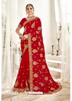 Mesmeric Red Designer Georgette Embroidered Wedding Saree