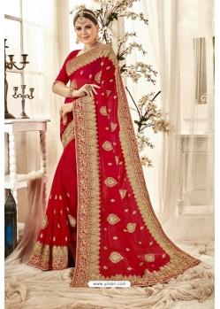 Fantastic Red Designer Georgette Embroidered Wedding Saree