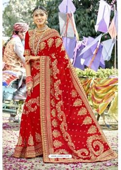 Fashionistic Red Zari Embroidered Georgette Wedding Saree