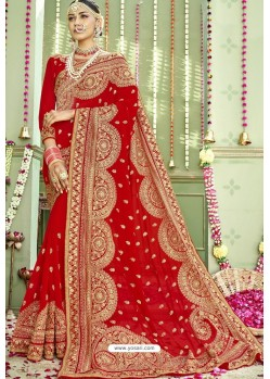 Beautiful Red Zari Embroidered Georgette Wedding Saree