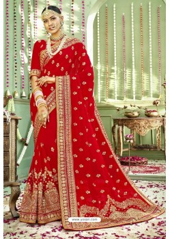 Perfect Red Zari Embroidered Georgette Wedding Saree