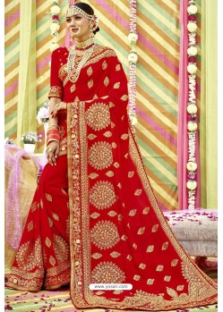 Excellent Red Zari Embroidered Georgette Wedding Saree