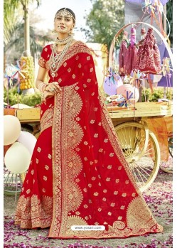 Desirable Red Zari Embroidered Georgette Wedding Saree