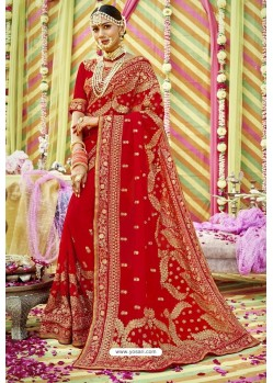 Genius Red Zari Embroidered Georgette Wedding Saree