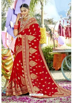 Adorable Red Zari Embroidered Georgette Wedding Saree