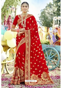 Stunning Red Zari Embroidered Georgette Wedding Saree